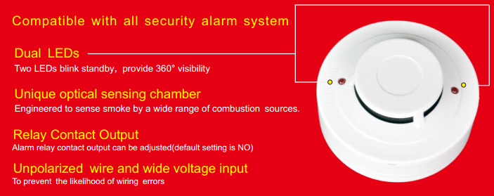 YT142C 4-wire Smoke Detector with Sound and Relay output