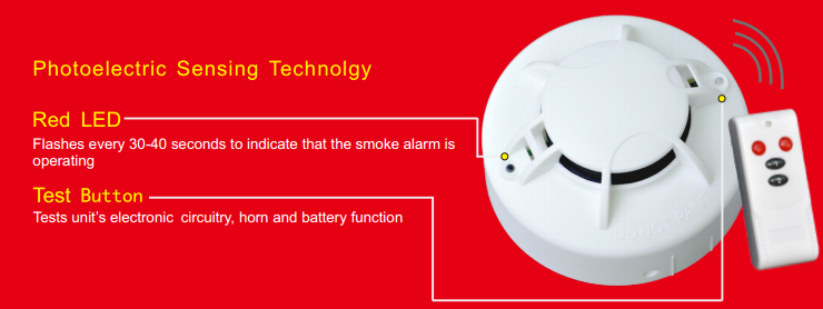 DG331 Wireless Interconnect DC9V Battery Powered Photoelectric Smoke Alarm