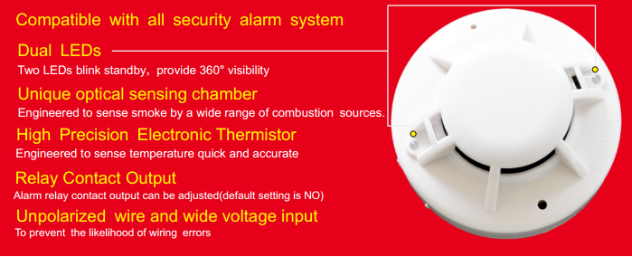 FT143 4-wire Smoke & Heat Detector with Relay output